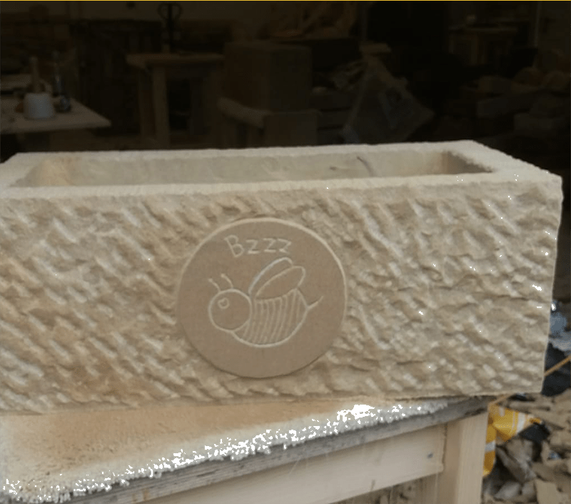 Stone Carved Bumble Bee Planter