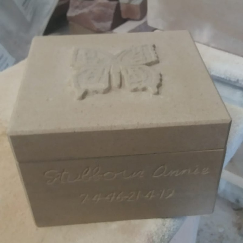 Stone Carved Butterfly Design Urn