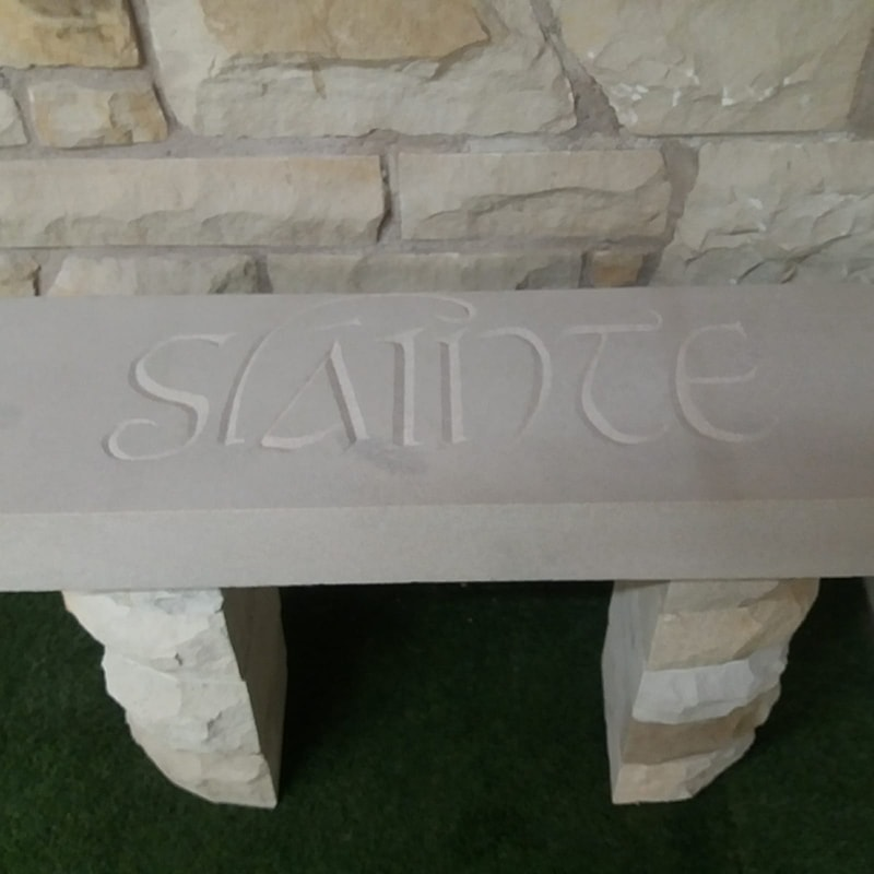 Stone Carved Gaelic Seat/Table