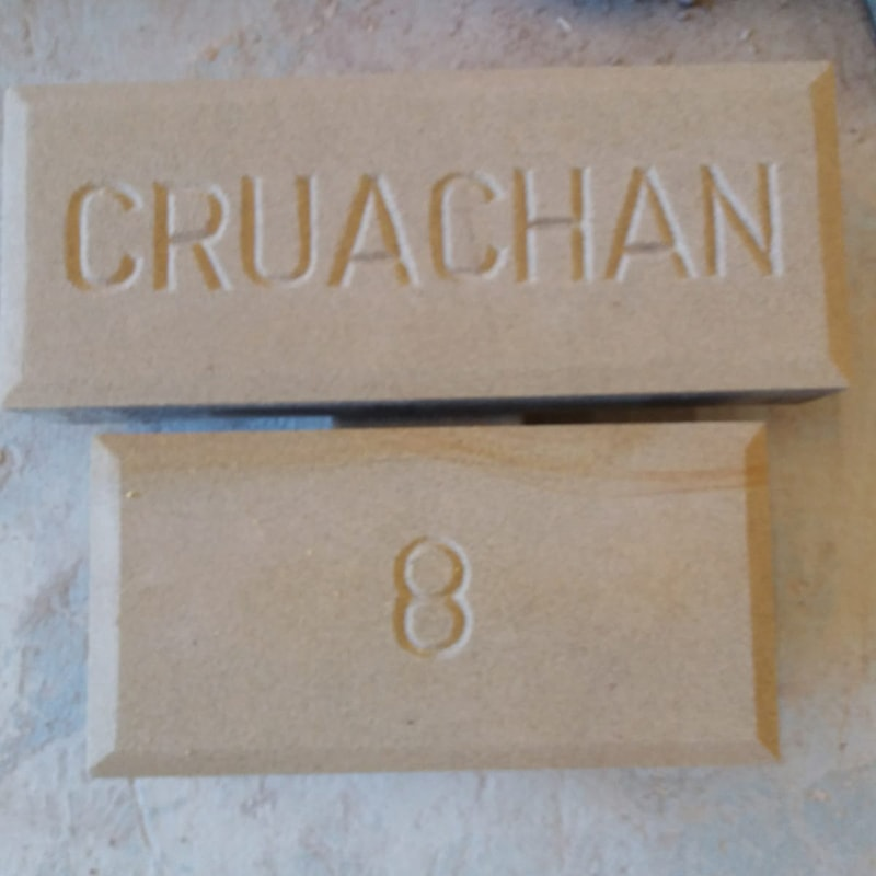 Stone Carved House name and number plate