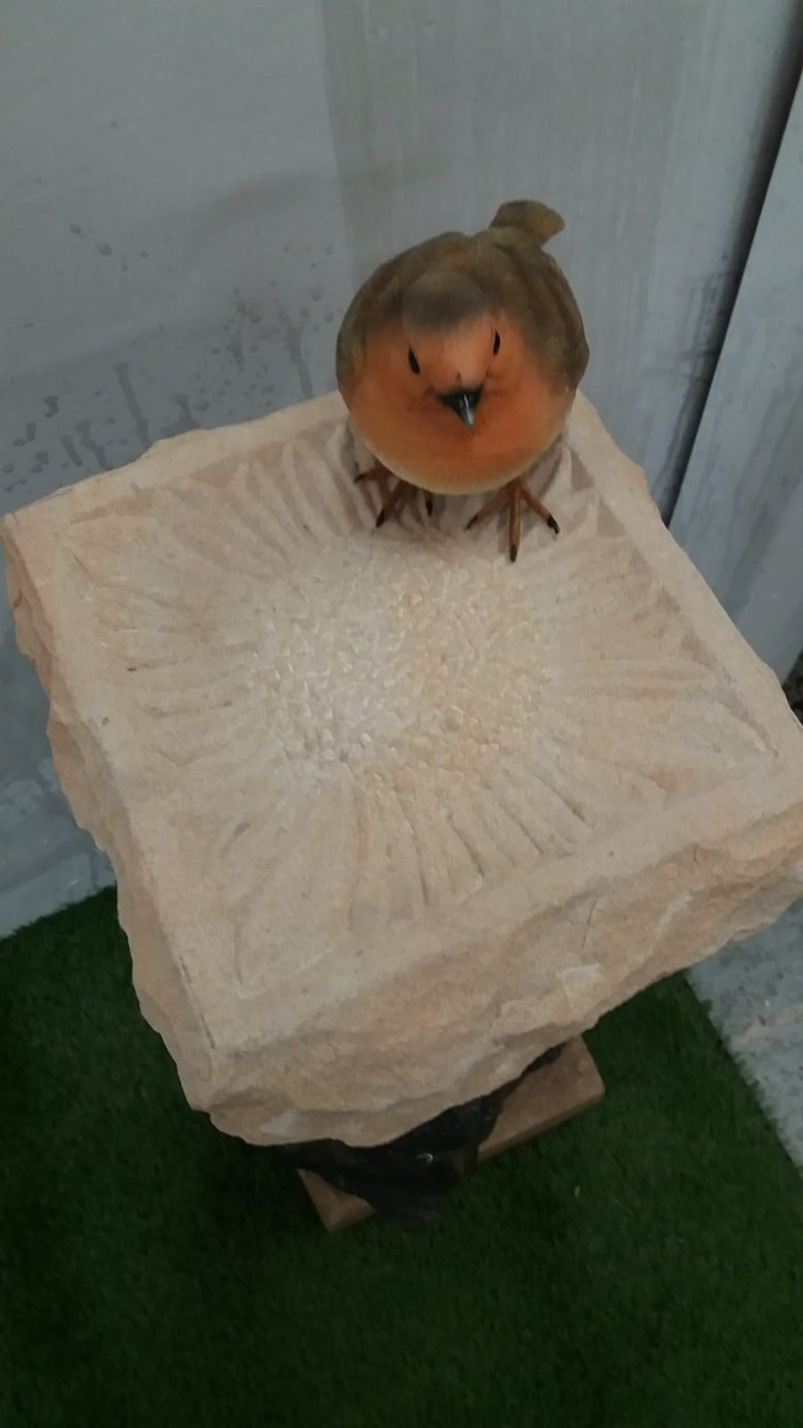 Stone Carved Sunflower Bird Bath/Feeder
