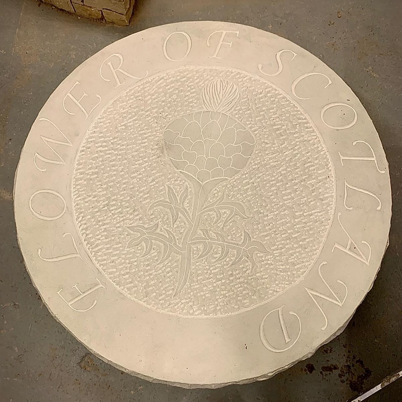Flower of Scotland Stone Carved Table top