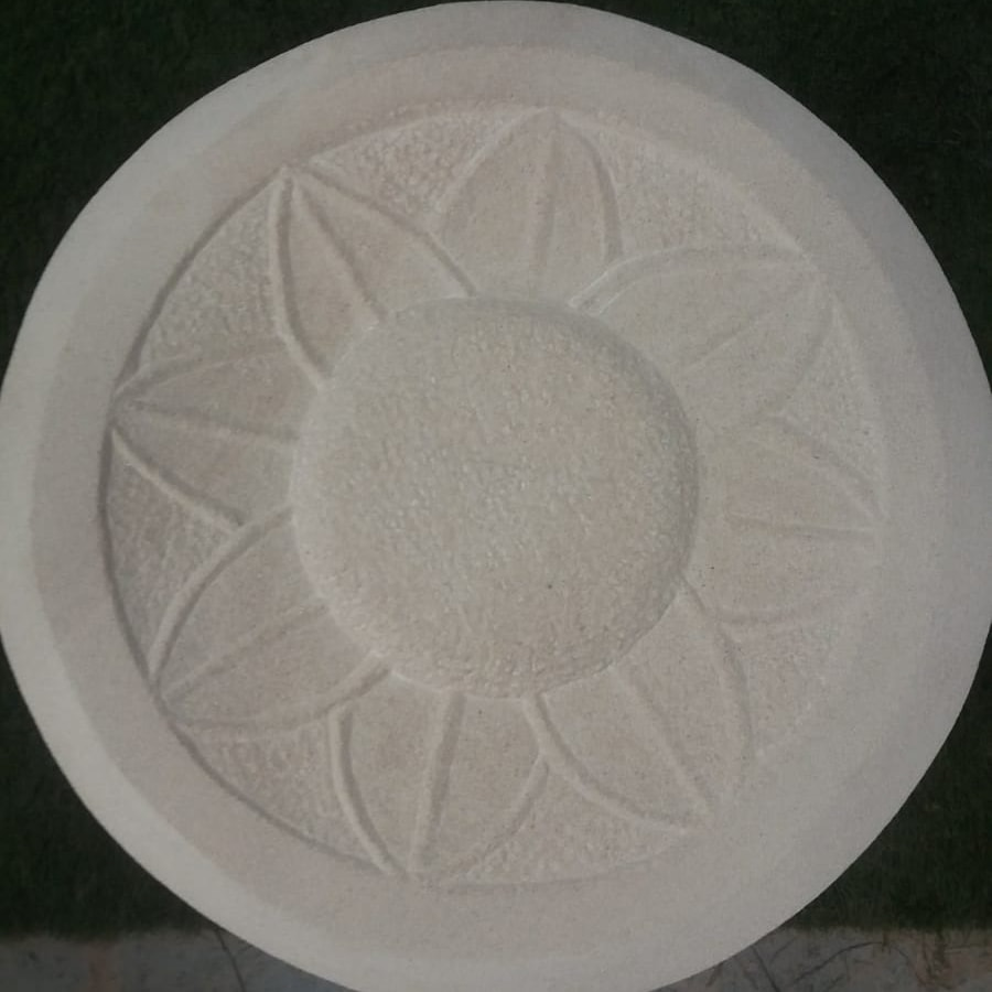 Stone Carved Sunflower Birdbath